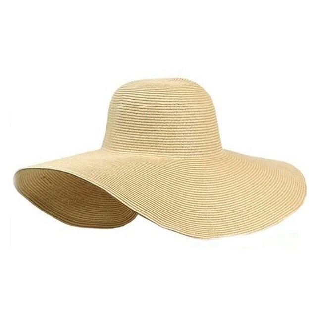 eb86c2958d6 1X Beautiful Women s Ladies  Foldable Wide Large Brim Floppy Summer Sun  Beach Hat Straw Hat Cap Drop Shipping 4Color