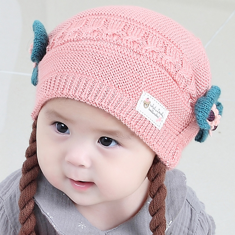 9564aa001981a Knitted Baby Hat For Newborn Girls Flower Bow Infant Baby Hats Caps Warm  Girl Cap Thick Baby Beanies Winter Baby Girls Clothing-in Hats   Caps from  Mother ...