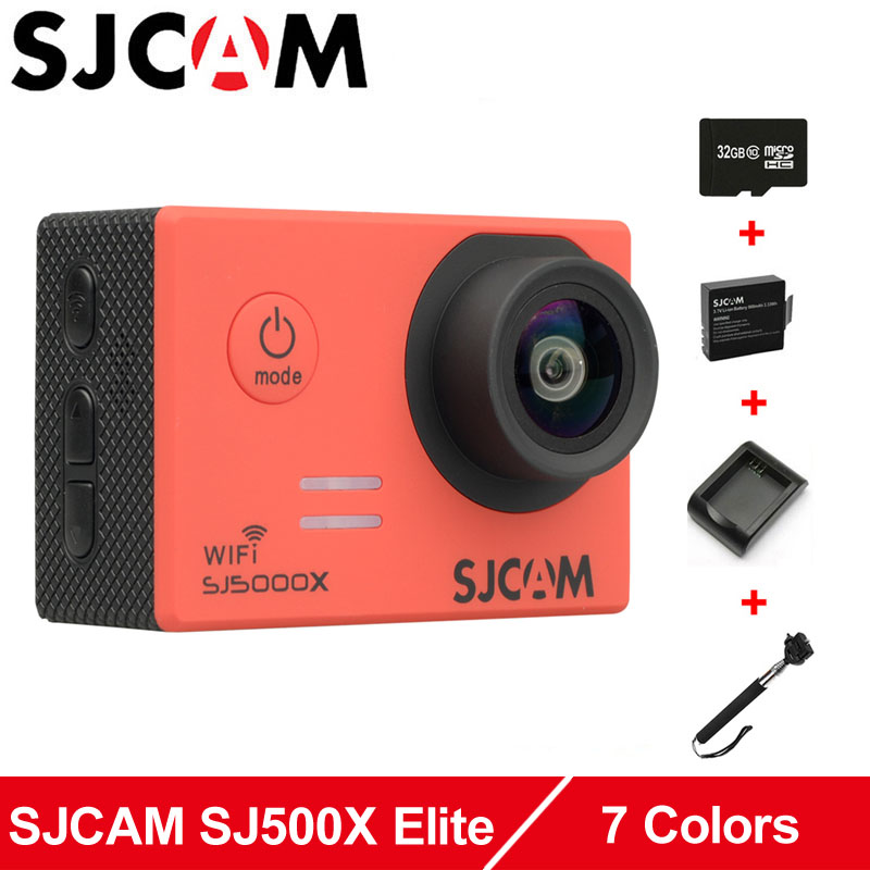 Original SJCAM SJ5000X Elite WiFi 4K action camera sports waterproof SJ cam +Extra 1pcs Battery+Charger+Monopod+32GB Memory Card original sjcam m20 wifi 4k 24fps 30m waterproof sports action camera sj cam dvr 2 extra battery dual charger remote monopod