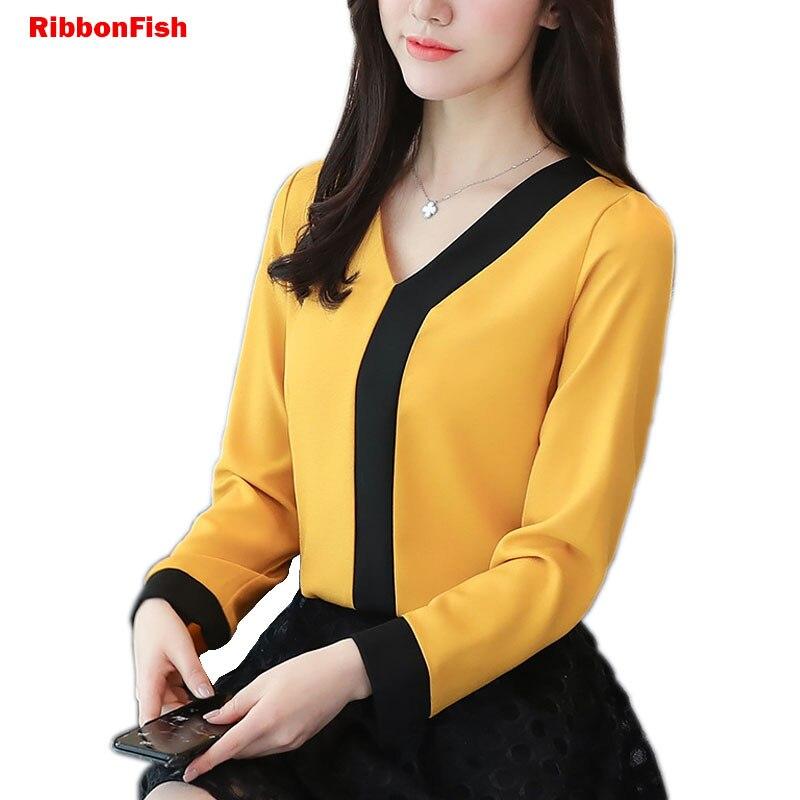 Office Wear Women Summer Chiffon   Blouses     Shirts   Lady Girls Casual V-Neck Patchwork Long Sleeve Tops   Shirts   Blusas DF1428