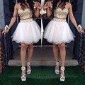 2016 Latest 2 Piece Gowns vestidos de festa longo Colorful Rhinestone Short Mini women White Party Cocktail Dresses short