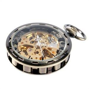 Image 4 - Vintage bronce engranaje de esqueleto esfera de oro de lujo mecánico cuerda a mano reloj de bolsillo reloj analógico Steampunk Fob reloj regalo