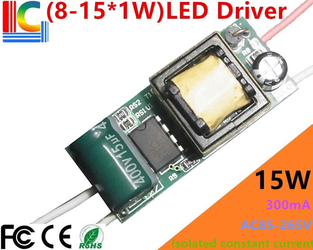 8W 9W 10W 11W 12W 13W 14W 15W <font><b>LED</b></font> <font><b>Driver</b></font> <font><b>300mA</b></font> 8-15*<font><b>1W</b></font> light bulb Power Supply BP3126S Isolation Lighting adapter 5PCs/Lot image