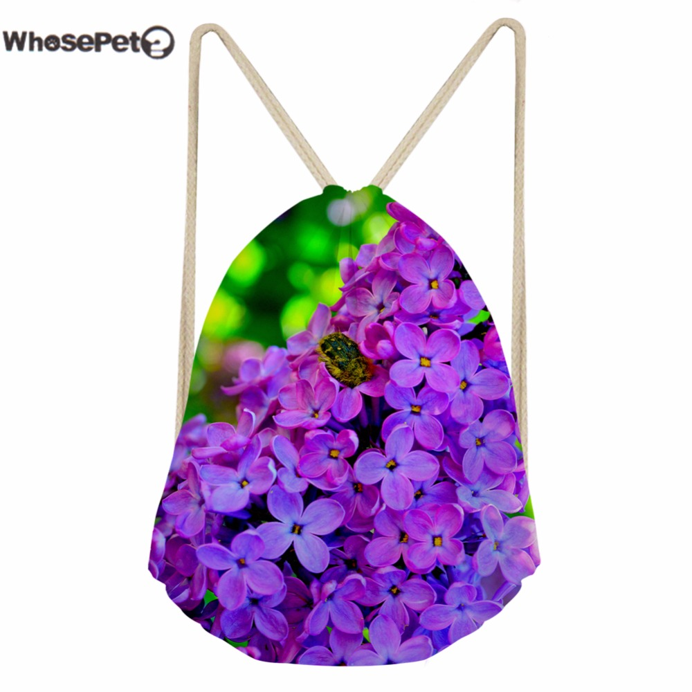 WhosePet Small Draw String Backpack Casual Mini Backpacks for Children Boys Girls 3D Beautiful Flowers Printing Shoulder Bags