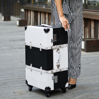 Retro wooden suitcase spinner trolley bag 20 vintage lady rolling luggage 24 on wheel