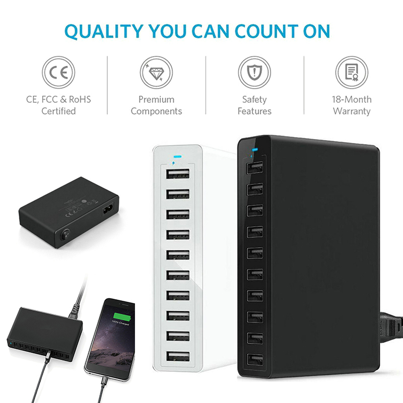 10A 10-Port USB Charger US EU UK Plug Standard Universal Phone Desktop Charger 50W AC 100V~240V Multi Charging Station Dock10A 10-Port USB Charger US EU UK Plug Standard Universal Phone Desktop Charger 50W AC 100V~240V Multi Charging Station Dock