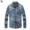 2017 весна осень мужские рубашки 100% хлопок высокого качества бренда джинсовой рубашки Вскользь с длинным рукавом ковбой рубашка мужчины camisa masculina