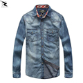 2017 spring autumn men's shirts 100% cotton high quality brand denim shirt Casual long sleeved cowboy shirt men camisa masculina