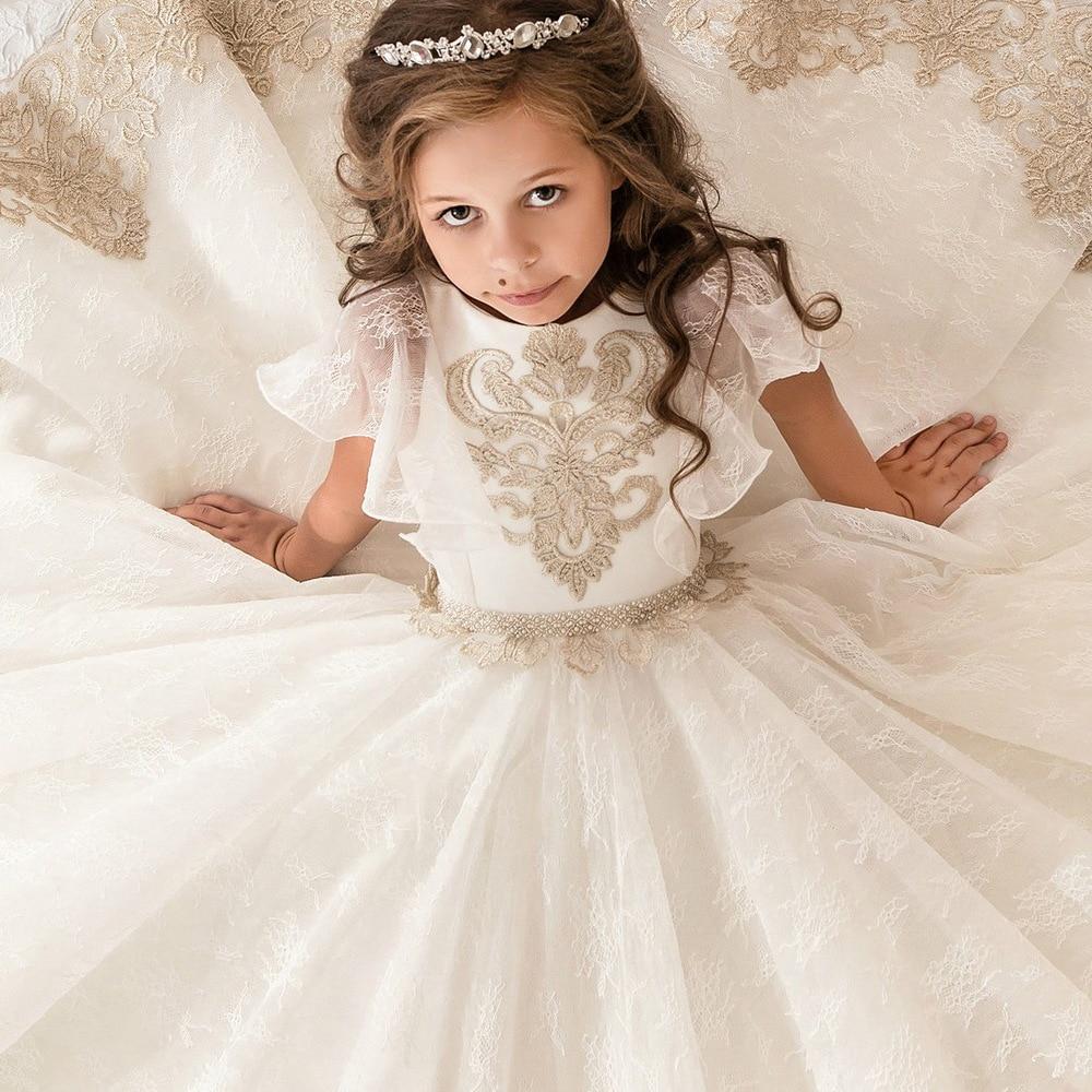 02594699cdee2 Enfants infantile filles Appliques robe formelle enfants demoiselle  d honneur enfant en bas âge robe élégante de mariage mariée Tulle robe de  soirée sur ...