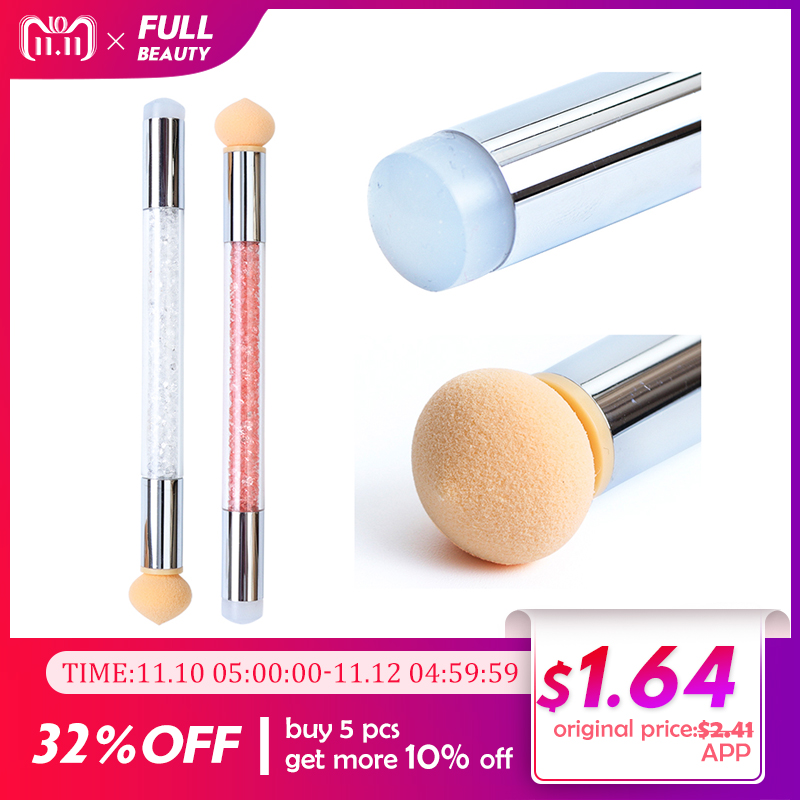 1 Set Gradient Stamping Design Nail Brush Gradient Shading Dotting Painting Pen Sponge Silicone UV Gel Manicure Tool 2 Way CHA15 цены онлайн