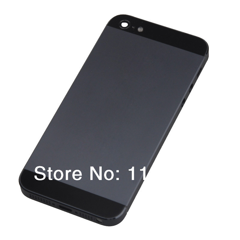 Free Shipping! White/Black Complete Housing Back Battery Door Cover & Mid Frame with Button Assembly for iPhone 5