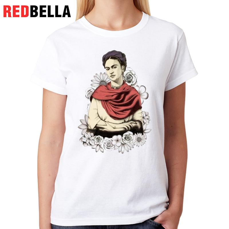 7088702c82c REDBELLA Womens Clothing Art Frida Painting 80s 90s Retro Rose Mexico  Flower Ulzzang Roupa Feminina Printing Woman Clothes Tops-in T-Shirts from  Women s ...