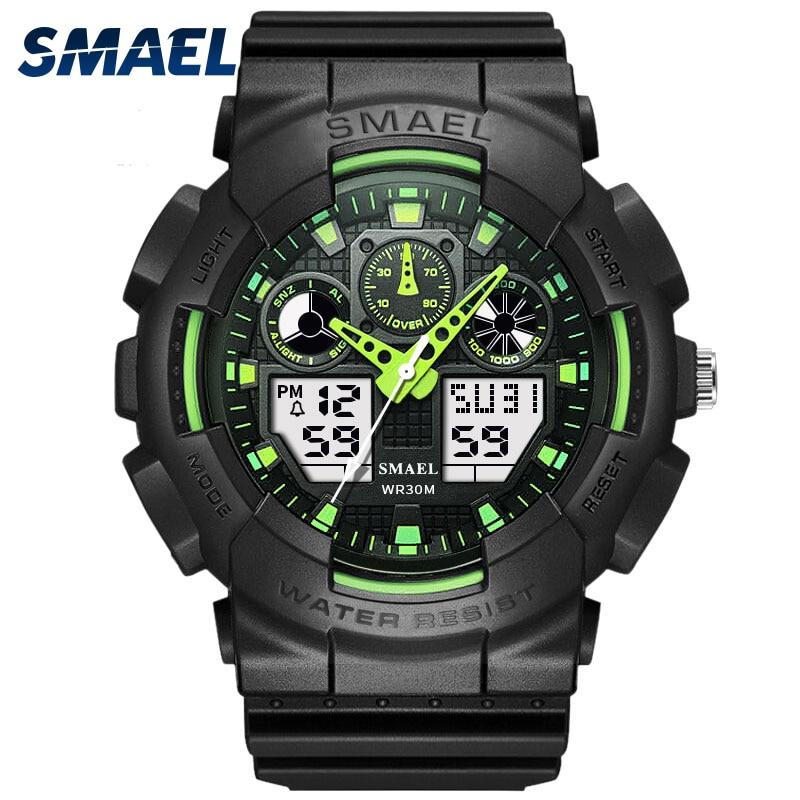 SMAEL Brand Men Sports Watches Dual Display Analog Digital LED Electronic Quartz font b Wristwatches b