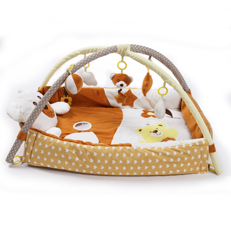Children Real soft baby playpen Soft Baby Game Fence Crawl Guardrail Safe Hurdles with 5pcs Hanging Bells Gift Activity Gear - 3