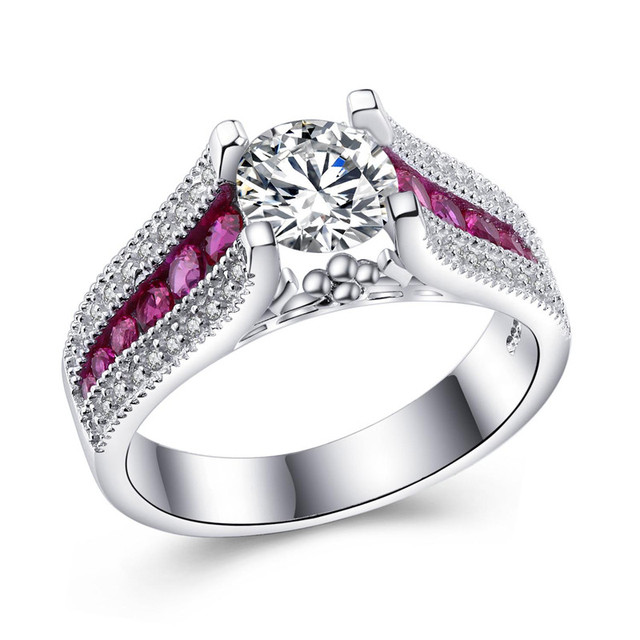 H Hyde Sliver Color Wedding Rings With Pink Cubic Zirconia For Women Fashion Crystal Jewelry