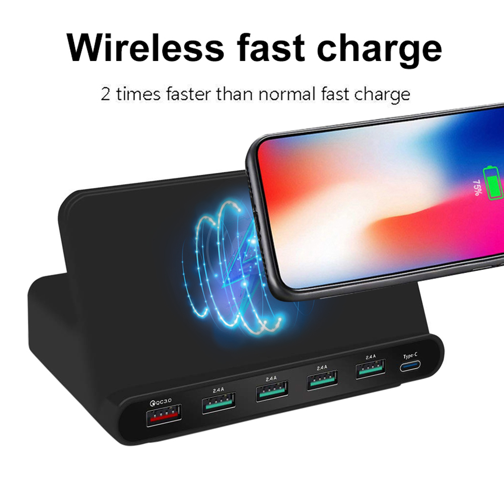 3 in 1 Wireless Charger 6 Ports QC 3.0 2.14A USB Type-C Fast Charging Dock Stand