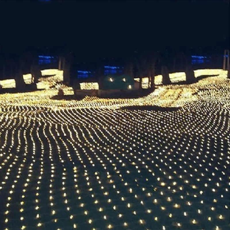 1,5 м X 1,5 м Фея садовая гирлянда светодиодных net огни для Рождественская елка, праздничный park hotel street вечерние свадебные украшения 220 V Открытый