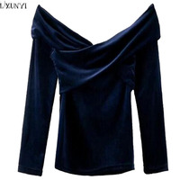 LXUNYI Europe And America Ladies Velour Tops Fashion V Neck Slim Velvet Tops Long Sleeves Off
