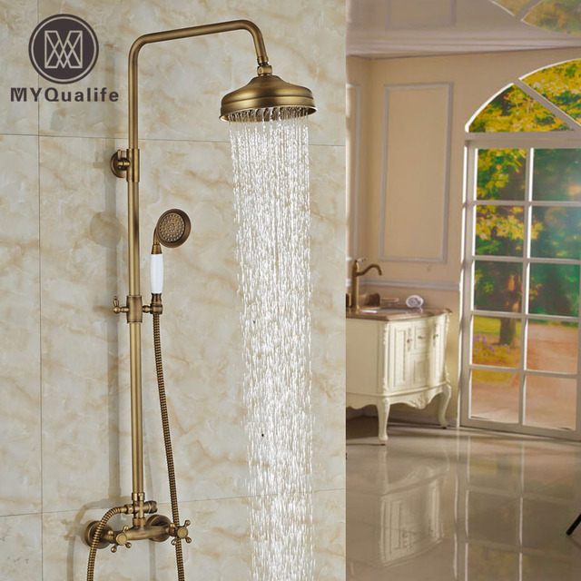 Luxury Adjust Height Shower Set Faucet 8 inch Brass Rain Shower ...