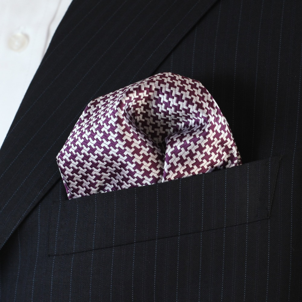 Geometric Houndstooth Purple Yellow Cream Multicolor Mens Handkerchieves Silk Jacquard Woven Wholesale Pocket Square Attractive