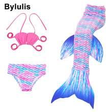 8 цветов, 3 предмета, подарки для девочек, Ариэль, Детский костюм купальник с хвостом русалки, детские костюмы для девочек, купальники, хвост русалки