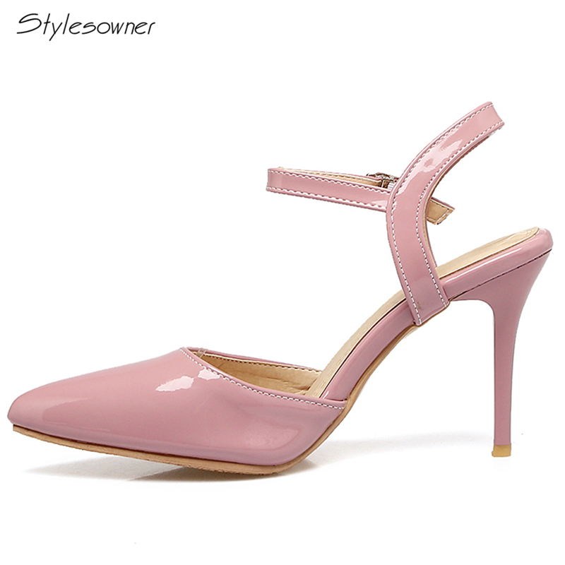 Stylesowner Stiletto Women High Heels Sandals Pointed Toe Sexy High Heels Ankle Laces Shallow Mouth High Heels Shoes Big Size 46 women high heels big