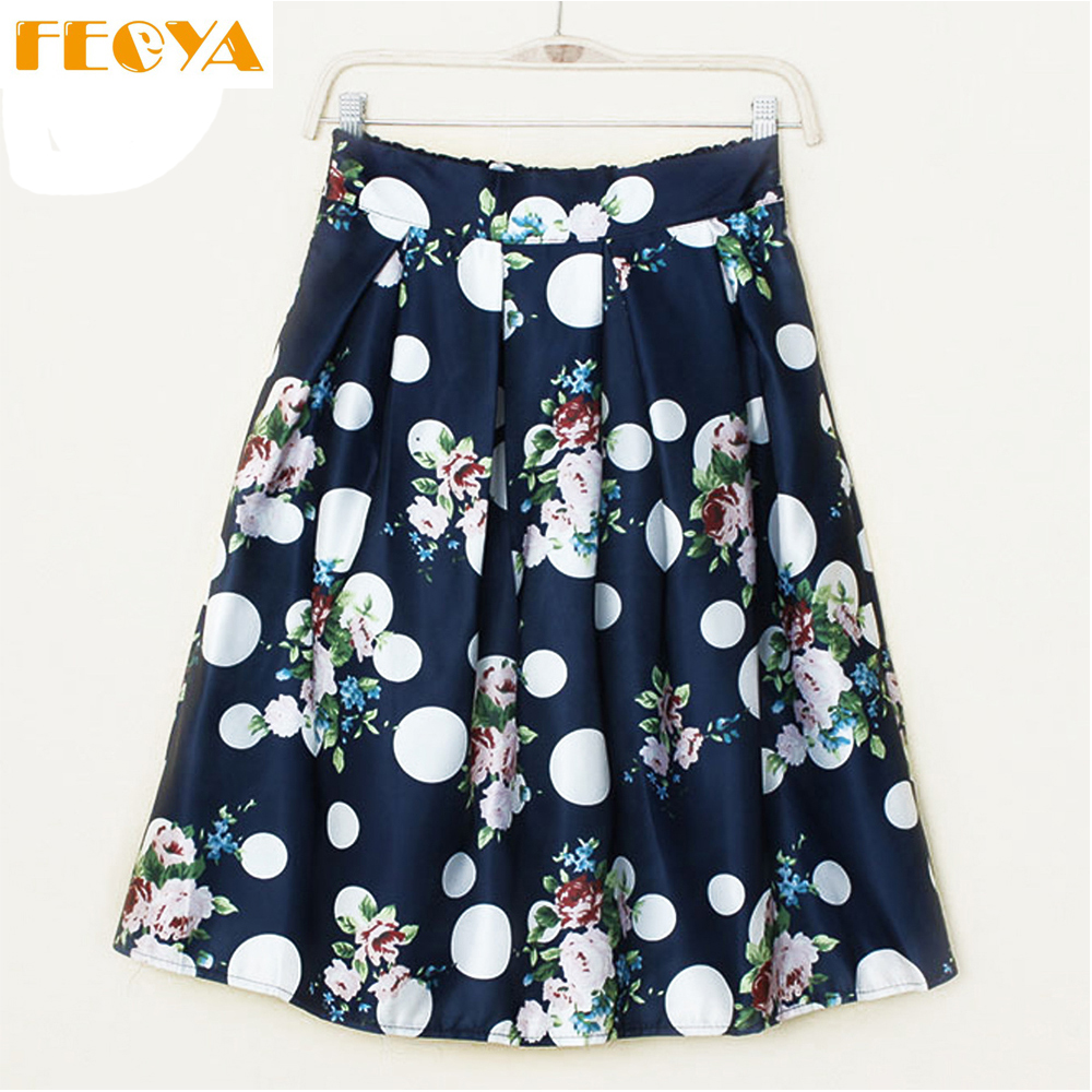 Feoya Women Flower Bubble Printed Swing Skirts Pleated Elegant Lady A-line Midi Skirts Ball Gown Party Skirts Faldas Mujer