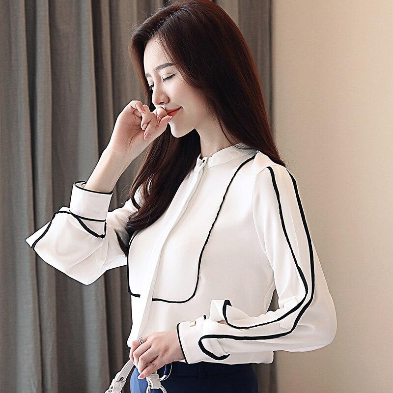 Chemise Office Blanc Mousseline Tops Rayures White En Feminina Lady Dingaozlz Manches Soie Femmes Longues Blusa De Coréenne Chemisier Vêtements Mode pqxUWd