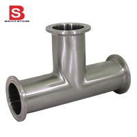 3 Way Tee Sanitary Ferrule Pipe Fitting Stainless Steel SS304