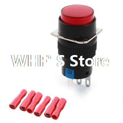 цена на DC 12V Red Light LED Indicator SPDT Momentary Pushbutton Switch 16mm  Female Connectors