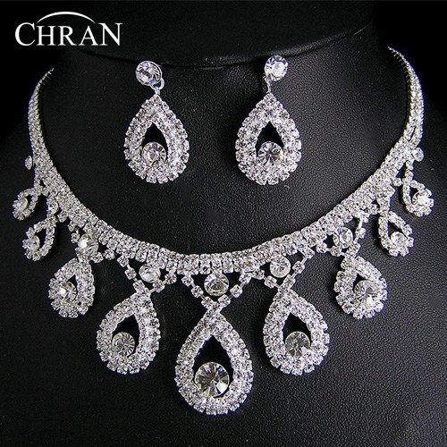 Classic Clear Rhinestone Silver Plated Wedding Jewelry Women Gifts Wholesale Fashion Crystal Bridal Jewelry Sets Free