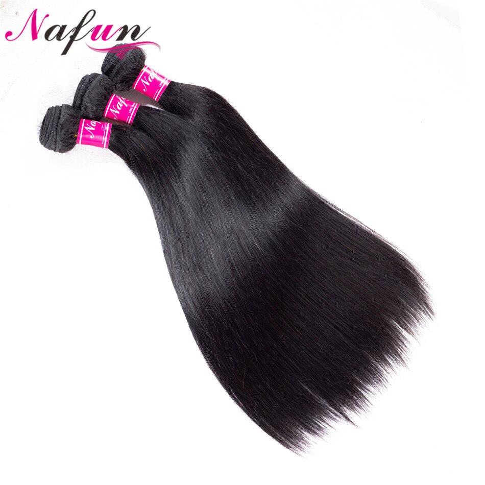10Pcs Bundles NAFUN Brazilian Straight Hair Bundles Natural Color Human Hair Weave Bundles Non Remy Hair