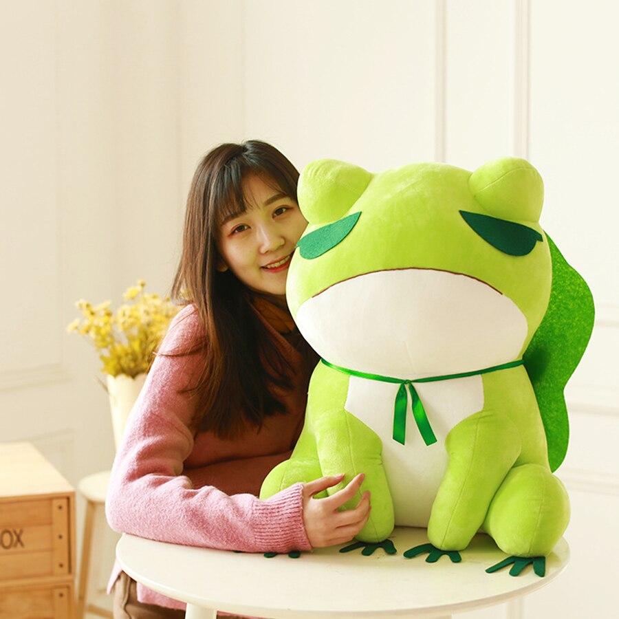 50cm Frog travel Kawaii Travel Frog Plush Toy Soft Doll Cartton Dolls Stuffed Animal Toys Girl Gift Peluches De Animales 50T0509