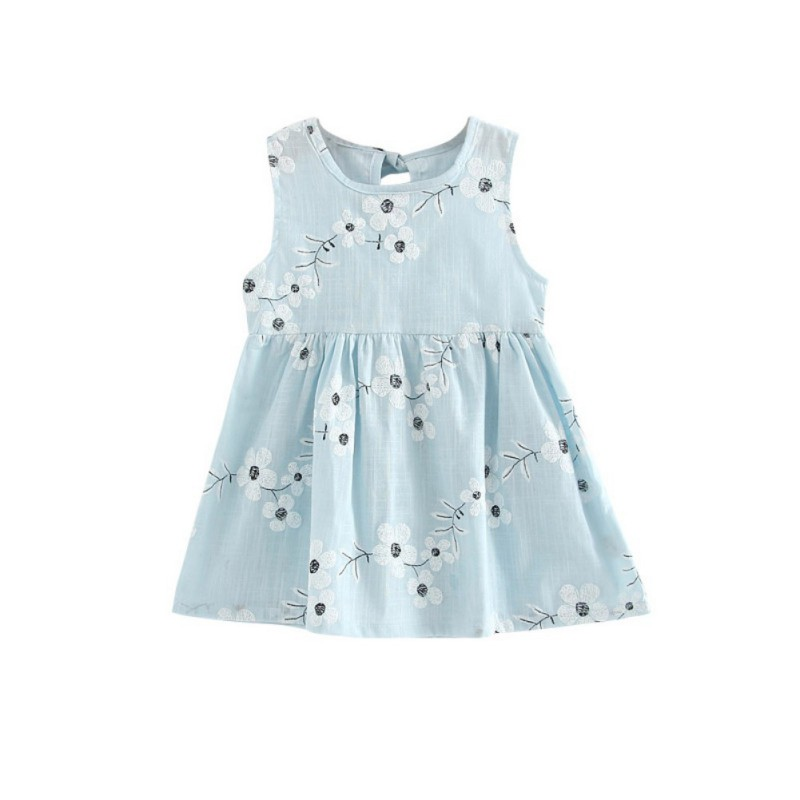 Infant Girl Dress Sleeveless Floral Printed Summer Dresses Kid Princess Party Dance Evening Vest A-line Dress Kids Girl Clothes cute summer lace dress infant baby girls princess dress kid girl party wedding cotton short sleeve white a line dresses clothes
