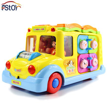 Baby Toys Electric School Bus Children Music Car Including 8 Games Car Horn Songs Animal Calls Early Educational Kids Toys Gift(China)