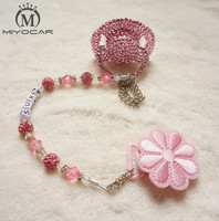 Hot New Pink Princess Hand Made Bling Crystal Rhinestone Baby Pacifier Nipples Dummy Cocka Chupeta Pacifier