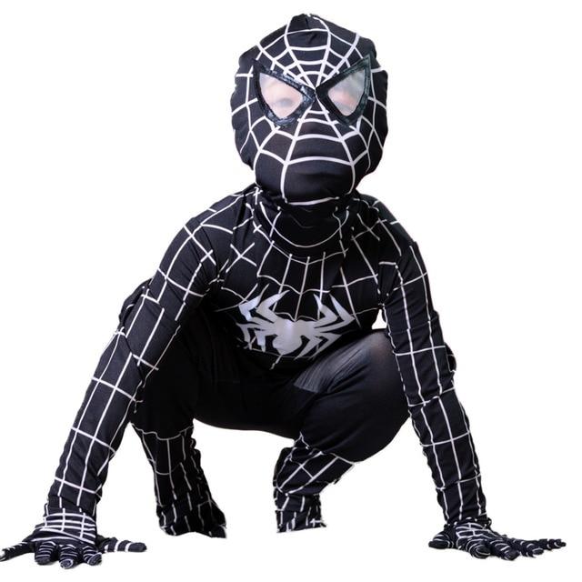 black venom spiderman costume kids halloween costumes superhero spider man cosplay full bodysuit new years