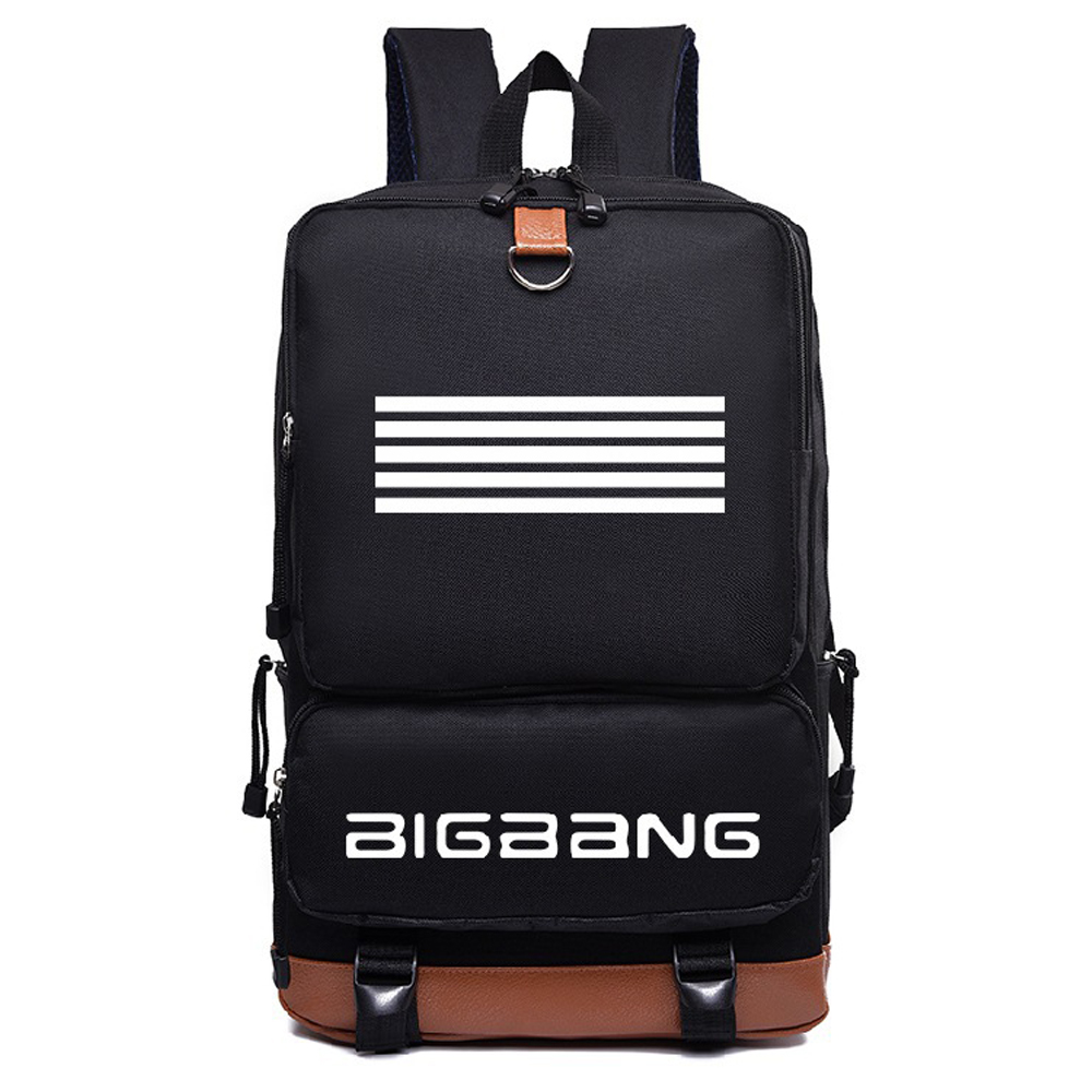 2018 New Korean Nylon KPOP Student Backpack Boys Girls Fashion BIGBANG Bags Women Backpack Rucksacks Mochila Satchel bag youpop kpop blackpink album laser pu bag jewelry admission package new fashion backpack bags sjb618