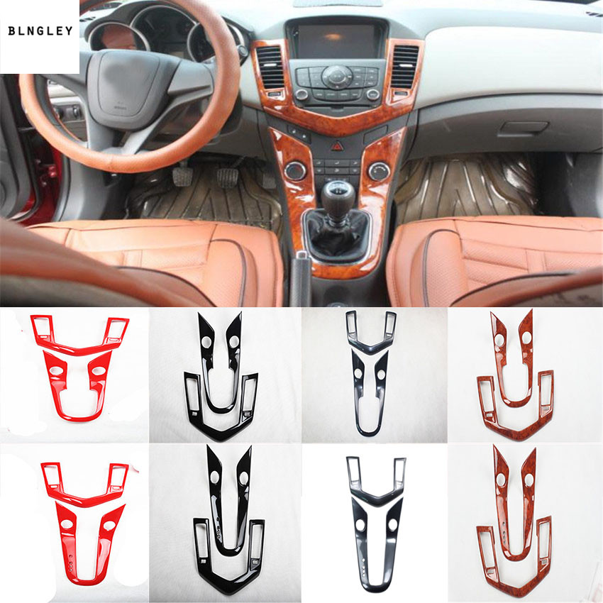 2pcs lot ABS carbon fiber grain or wooden grain Central control gear panel decoration cover for
