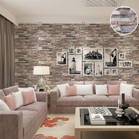 Modern 3D Effect Embossed Brick Stone Wallpaper Vinyl Natural Brown Grey Brick Wall Paper Roll For