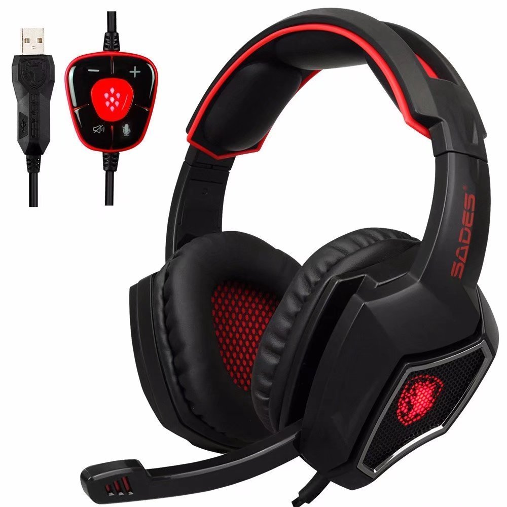 SADES Spirit Wolf Gaming Headphones Computer USB 7 1 Surround Sound Headset with Mic Noise Isolating