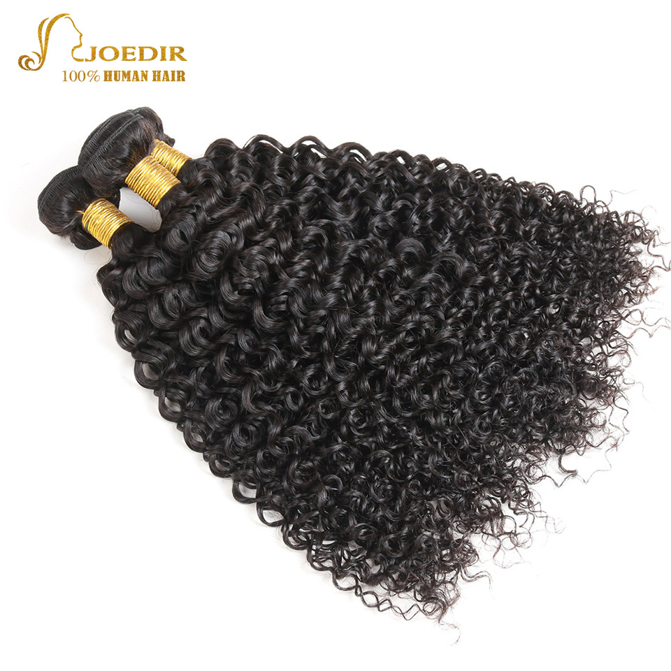 Joedir Human Hair Peruvian Kinky Curly 3 Bundles Peruvian Hair Weave Bundles Curly Human Hair Extensions 10 - 26 inch