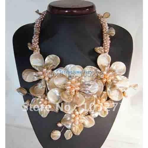 Проводной цветок ожерелье с жемчугом СС Shell Подлинная пресноводного жемчуга 18 ''Inchs мода, украшения Новый Бесплатная доставка FN503