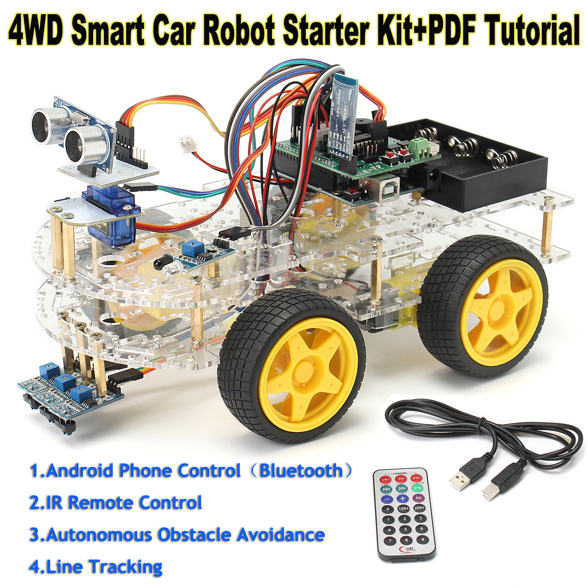 US $41 3 42% OFF|4WD Smart Car Robot Learning Starter Kit for Arduino  Programmable Robot DIY-in Integrated Circuits from Electronic Components &