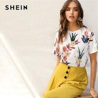 SHEIN женские рубашки с цветочным принтом и растениями Летние Повседневные базовые уличные пуловеры с короткими рукавами белая футболка Топы