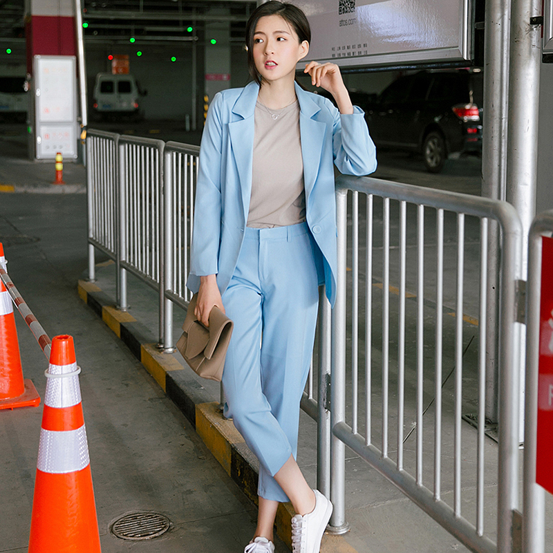 Women's Suit 2020 Spring And Autumn Loaded New Fashion Casual Office Ladies OL Was Thin Temperament Pure Color Two / Piece Set
