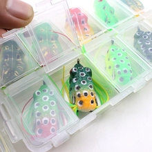 2017NEW 20pcs High Quality Topwater Frog and Mouse Hollow Body Soft Fishing Lures Bass Hooks Baits Tackle Set and Tackle Box
