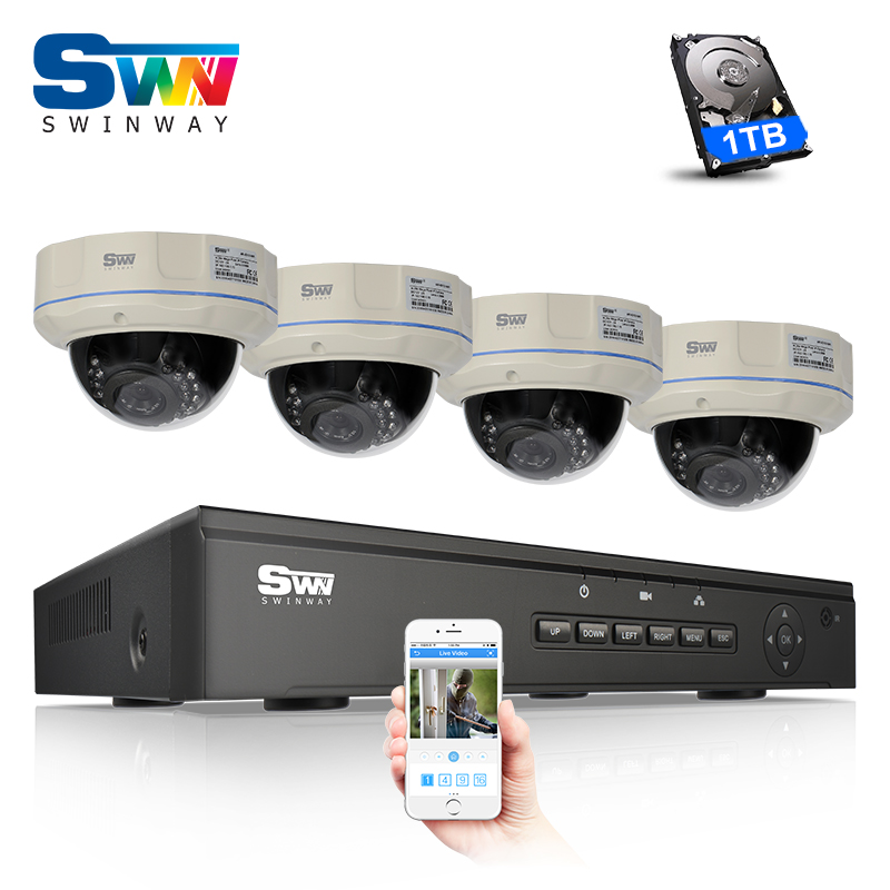 Plug And Play 4CH NVR POE Video Surveillance CCTV System 1TBHDD Onvif 720P HD H.264 Outdoor Security POE Camera Kit Email Alarm  title=