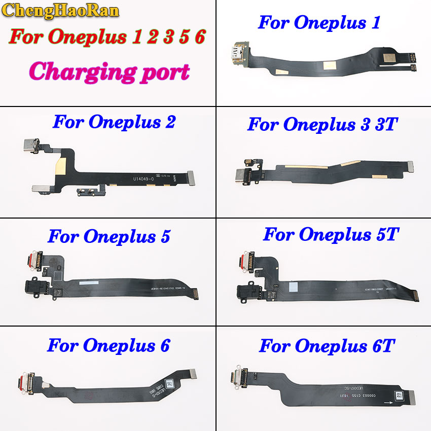 ChengHaoRan 1PCS Replacement Part For OnePlus 1 2 3 3T 5 5T 6 6T Type C USB Charger Charging Port Dock Connector Flex Cable