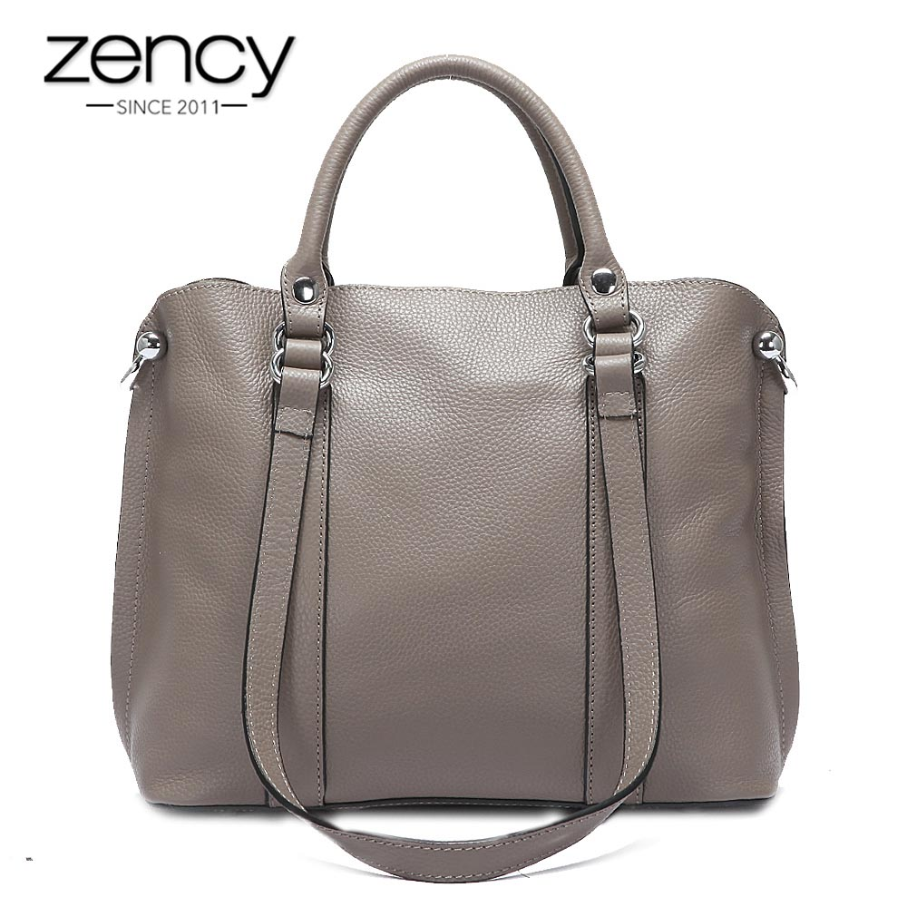 Zency Charm Grey Women Tote Bag 100% Real Cow Leather Handbag Fashion Lady Crossbody Messenger Purse High Quality Bags Black zency classic black women handbag 100% genuine leather casual tote bags fashion lady crossbody messenger purse shoulder bag grey